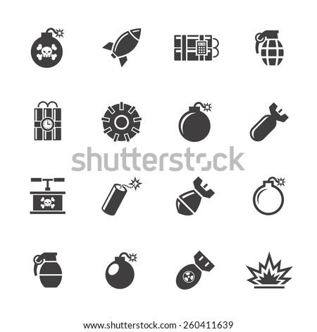 Bomb icons set. - stock vector