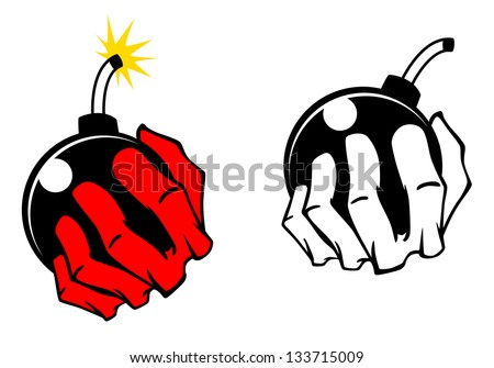 Bomb in people hand. Vector cartoon image. Jpeg (bitmap) version also available in gallery - stock vector