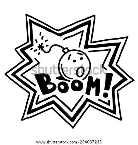 """Bomb with a burning wick ready to explode with sign """"Boom!"""" - stock vector"""