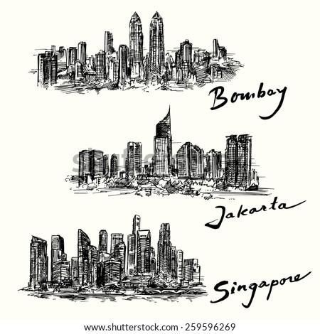 Bombay, Jakarta, Singapore skyline  - stock vector