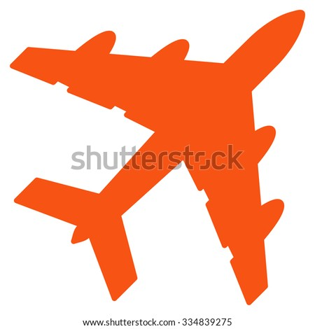 Bomber vector icon. Style is flat orange symbol, rounded angles, white background.