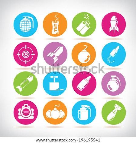 bombs icons set - stock vector