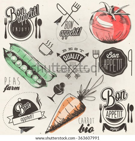 Bon Appetit! Enjoy your meal! Retro vintage style hand drawn typographic symbols for restaurant menu design. Set of Calligraphic titles and symbols. Hand drawn illustrationaa - stock vector