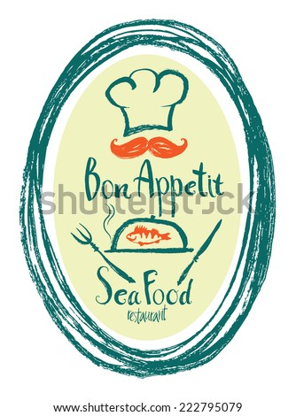 Bon Appetit Sea Food restaurant design card - stock vector
