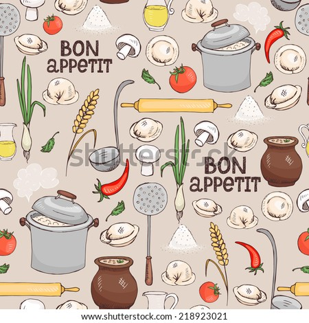 Bon Appetit seamless background pattern with scattered ingredients and kitchen utensils for making Italian ravioli pasta in square format suitable for wallpaper  wrapping paper and fabric - stock vector