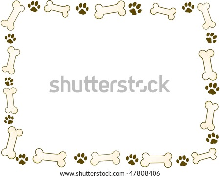 bone and paw frame in sepia tones - stock vector