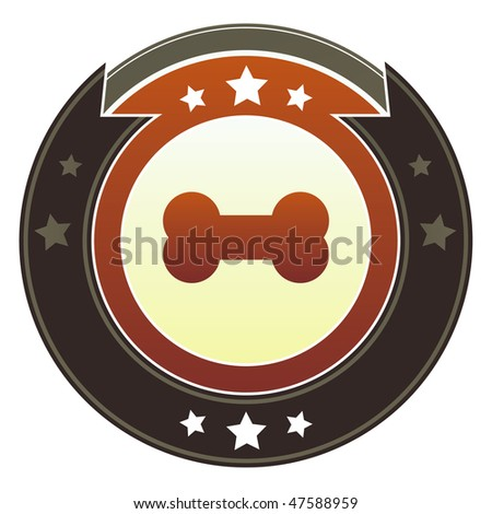 Bone or pet icon on round red and brown imperial vector button with star accents suitable for use on website, in print and promotional materials, and for advertising. - stock vector