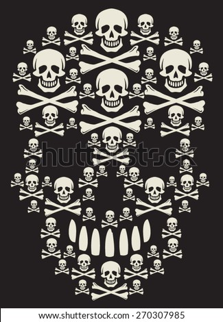 bones skull - stock vector