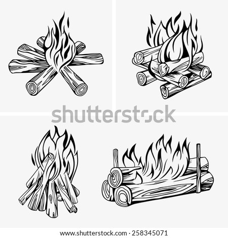Bonfire - stock vector