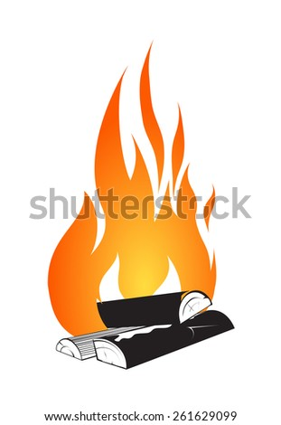 Bonfire design isolated on white - stock vector