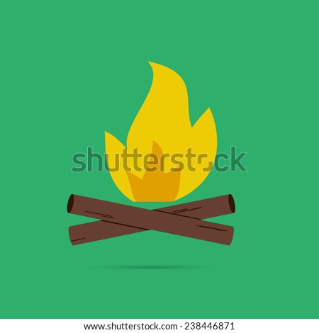 Bonfire summer logo, labels and badges. Travel emblems and icon - stock vector