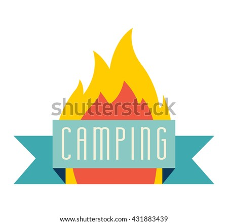 Bonfire vector icon. Adventure and camping logo. Flame logo. Tourism logo. Fire illustration. Travel element, cartoon flame.  Bonfire vector illustration isolated on white background, flat style - stock vector