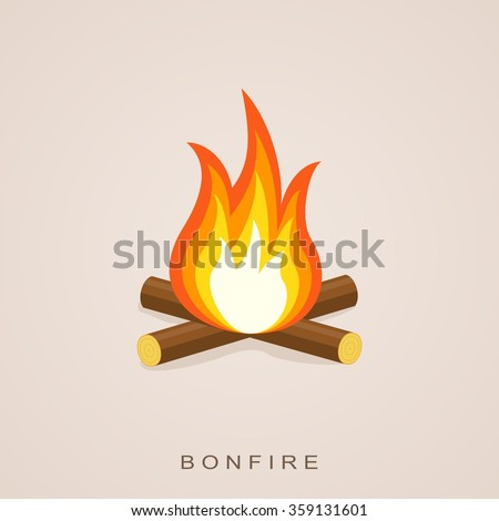 Bonfire with firewood. Fector Illustration.