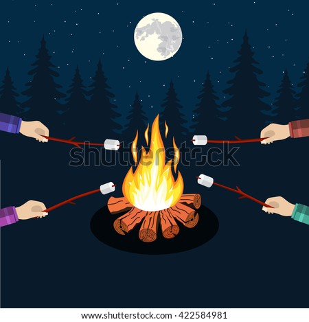 Bonfire with marshmallow, camping grill marshmallow vector illustration. Marshmallow outdoor, campfire night, food marshmallow stick. Vector illustration in flat design. - stock vector