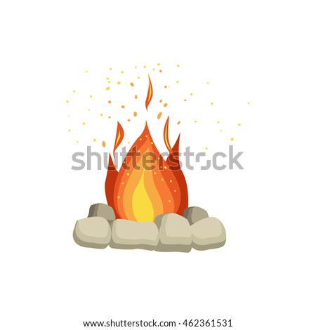 Bonfire With Rocks Surrounding