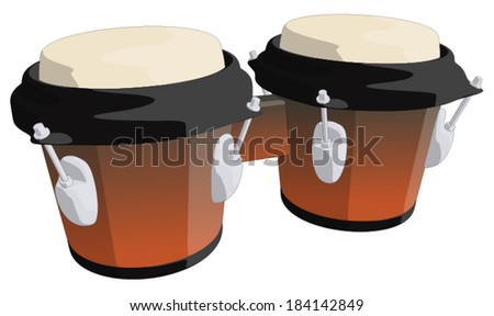 Bongo Drums -  Vector Artwork (isolated on white background). - stock vector