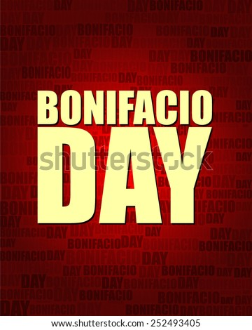 Bonifacio Day with same text on red gradient background.