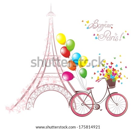 Bonjour Paris text with eiffel tower and bicycle. Romantic postcard from Paris. Vector illustration. - stock vector