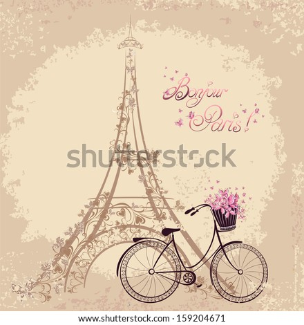 Bonjour Paris text with tower eiffel and bicycle. Romantic postcard from Paris. Vector illustration. - stock vector