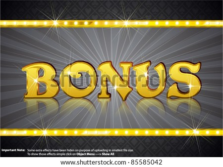 Bonus Write in gold shining font - stock vector