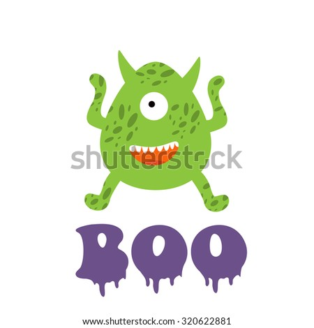 Boo card with funny monster. Illustration in vector format