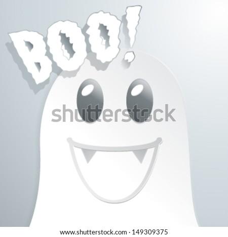 Boo cute ghost cartoon - Vector illustration - stock vector