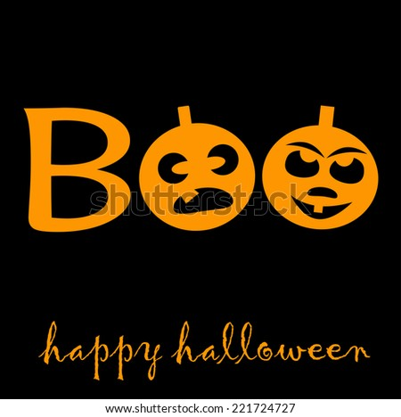 Boo Halloween Two Pumpkin Latern Stock Vector 221724727 - Shutterstock