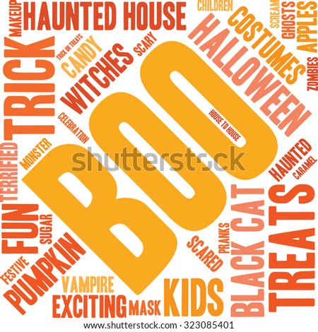 Boo word cloud on a white background.  - stock vector