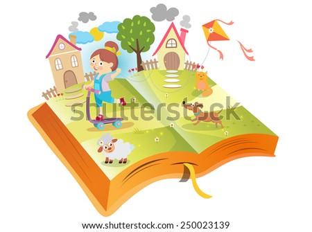 Book about funny girl - stock vector