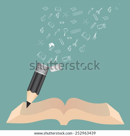 Book and Black pencil school education concept with doodle icons set vector illustration. - stock vector