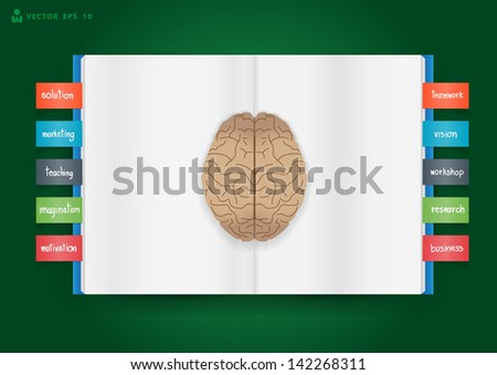 Book and brain of business concept, Vector illustration template design - stock vector
