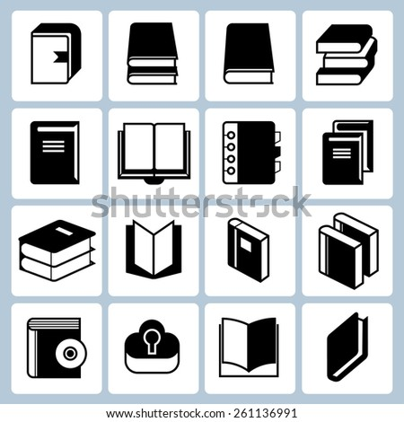 book and document icons set - stock vector