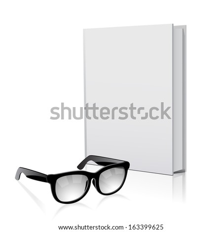 Book and glasses illustration isolated on white background  - stock vector