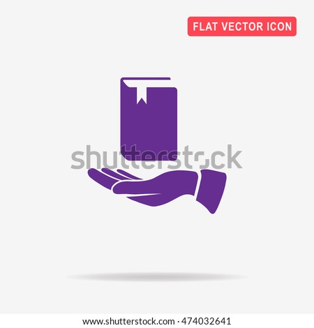 Book and hand icon. Vector concept illustration for design.