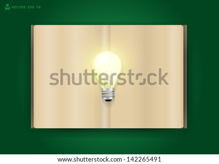 Book and light bulb of bright idea concept, Vector illustration template design - stock vector