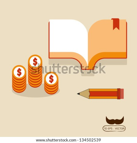 Book and money - stock vector
