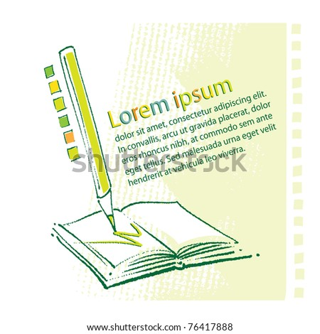 Book and pencil stylized icon (painterly style) - stock vector