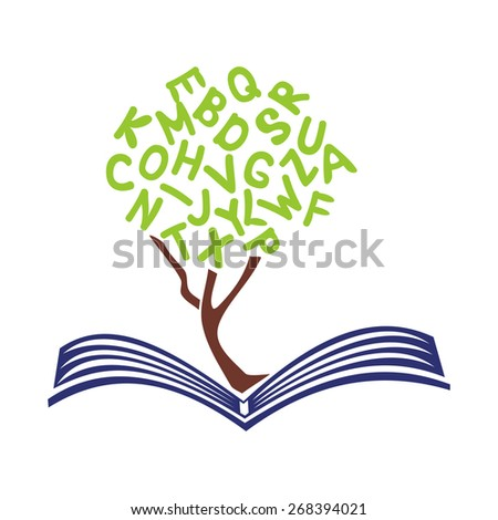 Book and tree vector illustration - stock vector