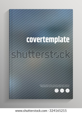 Book / brochure cover design template, blurred lines on background, with bleed and crop marks