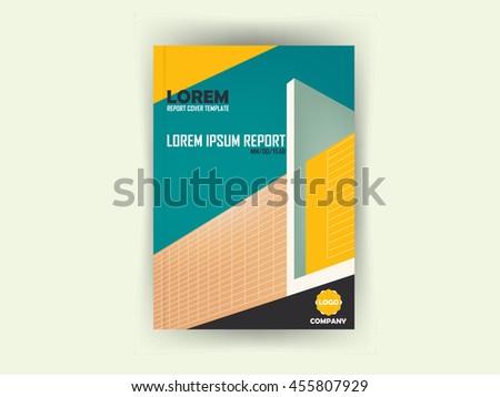 book report brochure template - isometric cover design architecture book a4 stock vector