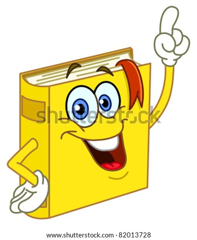 Book cartoon pointing with his finger - stock vector