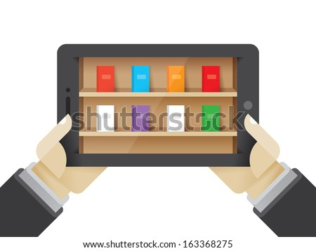 Book collection on the tablet computer in student hands. Idea - E-books, internet book library collection, mobile reading and education. - stock vector