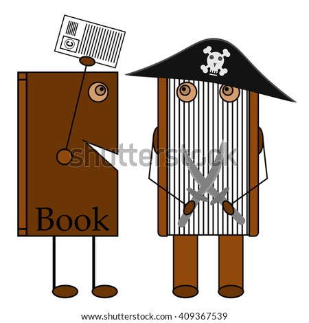 Book copyright Pirates. Book in pirate hat. Two crossed swords. Pirate hat with skull. Cocked hat. Two books. Copyright. Stop piracy act. Stop piracy now. - stock vector