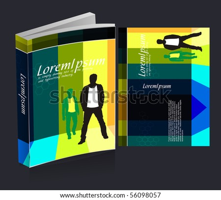 book cover design isolated over colorful background. - stock vector