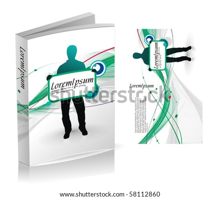 book cover design isolated over colorful background, vector illustration. - stock vector