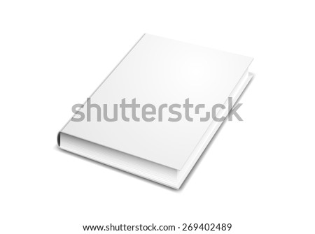 Book cover mock-up in perspective isolated on white