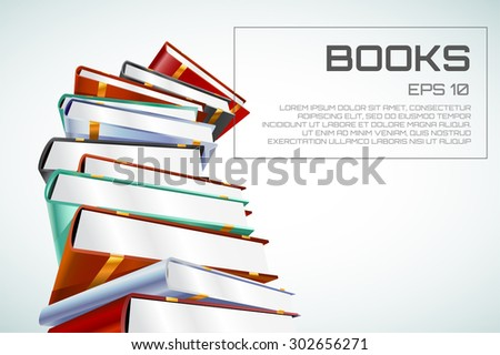 Book 3d vector illustration isolated on white. Back to school. Education, university, college symbol or knowledge, books stack, publish, page paper. Design element - stock vector