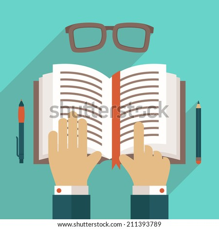 Book flat icon with hand reading person concept vector illustration - stock vector