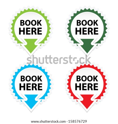 Book Here button, icon, sticker or symbols on white background - Vector. - stock vector