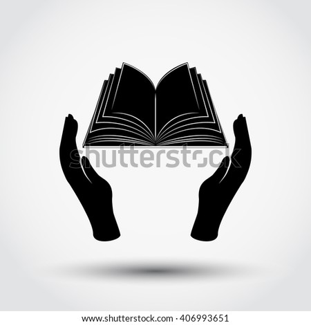 Book icon in the hands - stock vector